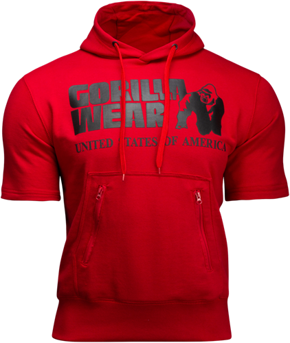 Boston Short Sleeve Hoodie - Red (with black logo)