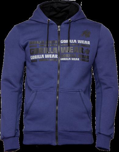 Bowie Mesh Zipped Hoodie - Navy Blue - XL
