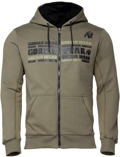 Bowie Mesh Zipped Hoodie - Army Green - L