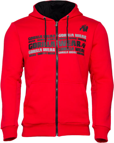 Bowie Mesh Zipped Hoodie - Red - 4XL