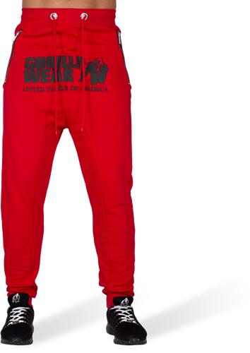 Alabama Drop Crotch Joggers - Red-2