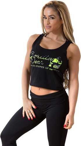Oakland Crop Tank Black/Neon Lime Camo