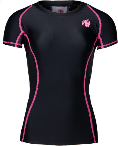 Carlin Compression Short Sleeve Top - Black/Pink
