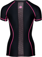 Carlin Compression Short Sleeve Top - Black/Pink-2