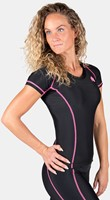 Carlin Compression Short Sleeve Top - Black/Pink-3