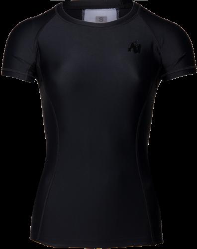 Carlin Compression Short Sleeve Top - Black/Black-XL