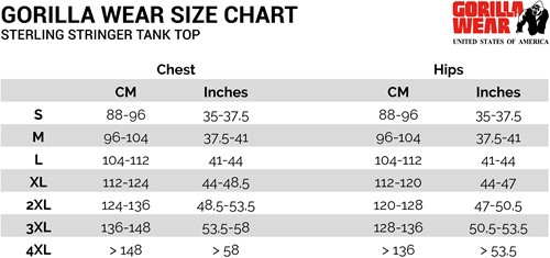 sterling stringer tank top sizechart maattabel