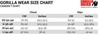 Camden T-shirt sizechart size chart maattabel