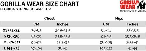 Florida stringer tank top sizechart